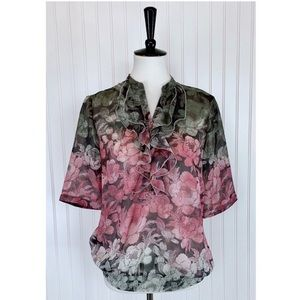 The Limited • Olive Pink Floral Ruffle Top • M